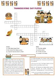 English Worksheet: Thanksgiving day puzzle and wordsearch