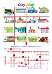 English Worksheet: City Map with place name activities, answer key and additional activities.
