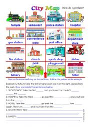English Worksheet: City Map with sentence completion activity and answer key.
