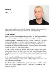 English Worksheet: Eminem , a Famous Rapper