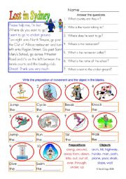 English Worksheet: Lost in Sydney: directions and prepositions with answer key and extras.