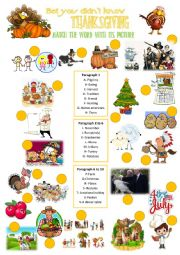 English Worksheet: Bet you didn t know Thanksgiving + Pictionary
