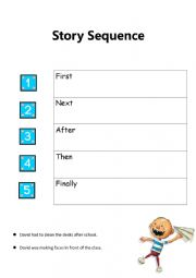 English Worksheet: David Goes to School Story Sequence