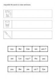 English Worksheet: Jumbled sentences ( can / you / see )