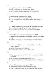 English Worksheet: Pass the word