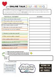 English Worksheet: Online TALK - Self-esteem
