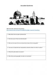 English Worksheet: Jerusalem syndrome