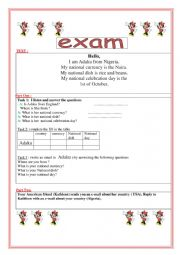 English Worksheet: describing one�s country; nationality; currency, dish and celebration days .