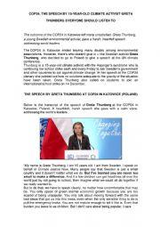 English Worksheet: Greta Thunberg  Speech in Poland