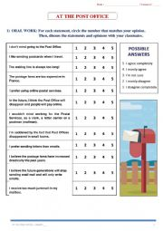 English Worksheet: AT THE POST OFFICE - Full Lesson (7 pages) + KEY