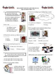 English Worksheet: Multiple Choice Test for 8th Classes in Turkey