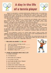 English Worksheet: A DAY IN THE LIFE OF A TENNIS PLAYER: DAILY ROUTINE