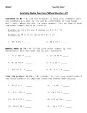 English worksheet: FRACTIONS
