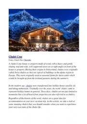 English Worksheet: Understanding a renting service for a chalet