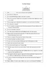 English Worksheet: Taj Mahal Dialogue