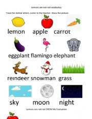 Lemons are not red activity sheet