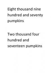 English Worksheet: Having fun making big numbers!
