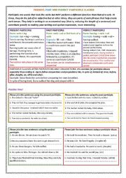 PRESENT, PAST AND PERFECT PARTICIPLE CLAUSES