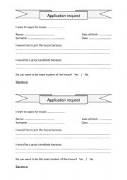 English Worksheet: Application form to join a house in school