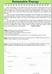 English Worksheet: Renewable Energy