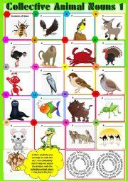 COLLECTIVE ANIMAL NOUNS 1 exercises + KEY