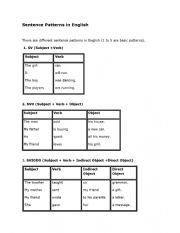 English Worksheet: Sentence Patterns