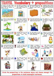 TRAVEL Vocabulary TEST - Vocabulary + prepositions + KEY