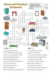 English Worksheet: House and furniture crossword
