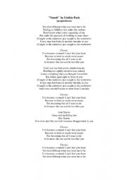 English Worksheet: Linkin Park-NUMB