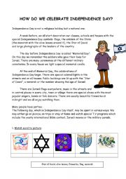 English Worksheet: Independence Day - how do we celebrate it in Israel?