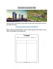 English Worksheet: City Life vs Country Life T-Chart Activity