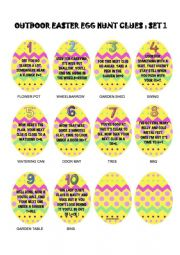 Easter Egg / Spring Hunt: outside clues, ready to go!