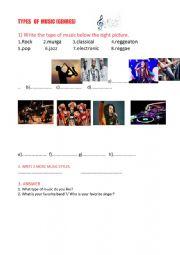 English Worksheet: music styles