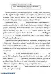 English Worksheet: Cricket
