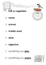 English Worksheet: Scattergories Activity - 6 worksheets
