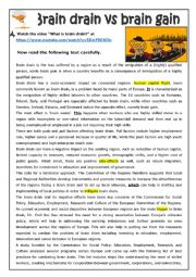 English Worksheet: Brain drain vs brain gain