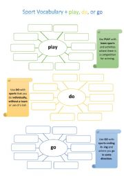 English Worksheet: go/do/play and sporting activities