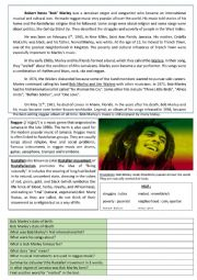 English Worksheet: About Bob Marley in Jamaica