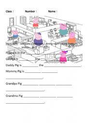English Worksheet: Where is Peppa Pig?