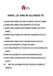 English Worksheet: MAKE, LET AND BE ALLOWED TO