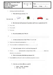test 9th form march 2021