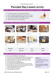 English Worksheet: Pancake Day Lesson