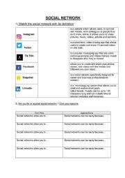 English Worksheet: Social networks