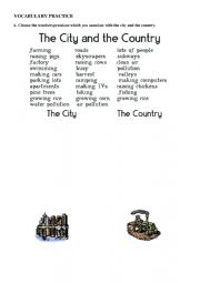 English Worksheet: city vs countryside