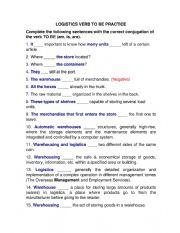English Worksheet: LOGISTICS VERB TO BE WORKSHEET