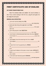 English Worksheet: FIRST CERTIFICATE USE OF ENGLISH (B2)