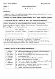 English Worksheet: The Brain Drain