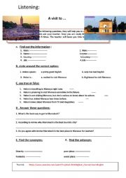 English Worksheet:  Listening a visit to Morocco