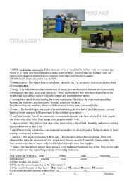 English Worksheet: Who are the Amish?