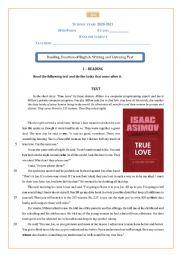 English Worksheet: 10th form English test